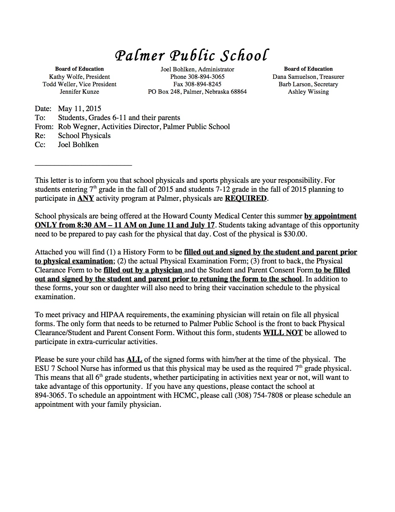 Palmer Public Schools - Physical & Consent Forms 2015-16 and ...